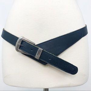 Vtg Black Leather Holster Harness Belt Cowboy Sz M